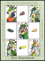 Lot 240 [2 of 4]:2005 Parrots 2006 QEII 80th Birthday (2) & 2007 Botanic Gardens sheetlets all from Year Books. Retail approx $200.