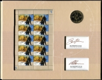 Lot 311 [1 of 2]:2007 Special Air Service 50th Anniversary $1 Coin and sheetlet in folder individually signed, gold foiled Miniature Sheet - Limited edition (1341 of 2,000). Retail $250.