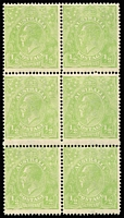 Lot 172:½d Cyprus Green block of six, BW #63H, five units unmounted, Cat $700.