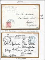 Lot 1326 [3 of 5]:Jaffa: 1901-06 Post Card group (4) incl 1901 20p on 10h stationery card to London, plus 3 PPCs (two to GB, one to Egypt), also a selection of adhesives with various 'JAFFA' pmks. (14 items)