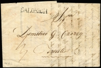 Lot 1329 [2 of 5]:Salonich 1839-41: Covers incl 1839 entire Salonich to Trieste with red arrival cds and Semlin disinfection cachet, 1841 similar entire with wax seal of Semlin Lazaret, 1859 entire to Trieste (red backstamp) with 2 line datestamp also 1901 20p UPU stationery card Adrianopel (Thrace) to Trieste. (4)