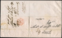 Lot 1329 [3 of 5]:Salonich 1839-41: Covers incl 1839 entire Salonich to Trieste with red arrival cds and Semlin disinfection cachet, 1841 similar entire with wax seal of Semlin Lazaret, 1859 entire to Trieste (red backstamp) with 2 line datestamp also 1901 20p UPU stationery card Adrianopel (Thrace) to Trieste. (4)