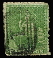 Lot 1407:1860 Pin-Perf 12½ (½d) Yellow-Green slightly trimmed at lower left. (2003 Brandon certificate with slight water damage almost obliterating the crucial words 'is genuine'). SG #16, Cat £650.