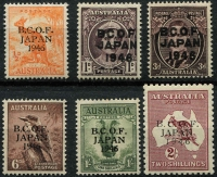 Lot 567 [2 of 2]:1946-47 Overprints ½d to 5/- (Thick paper), BW #J1-J7, Cat $400+. (7)