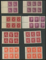 Lot 383 [3 of 5]:1928-52 selection on 18 Hagners incl Booklet panes 1928-29 1c & 2c KGV panes of 6, KGVI 1937-38 1c (2) & 2c (2) panes of 4 & 2 labels, 1c & 2c (2) panes of 6, 1942-48 1c pane of 4 & 2 labels, 1949-51 4c carmine-lake pane of 6, 4c vermilion pane of 6, Booklet strips 1942-48 War Effort booklet strips of 3, 1c, 3c & 4c (2 strips of each), 1949-51 1c, 3c & both 4c (strip of each), Coil stamps 1c to 4c in pairs, Plate blocks 1949-51 1c green 'No 7' all 4 plus 2 extra, 1953 Coronation (7 different positions), range later plate blocks, 1967-73 Defins, few phosphor tagged issues, few Official 'G' optd, etc. Cat in excess of £650. (100s)