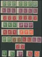 Lot 383 [4 of 5]:1928-52 selection on 18 Hagners incl Booklet panes 1928-29 1c & 2c KGV panes of 6, KGVI 1937-38 1c (2) & 2c (2) panes of 4 & 2 labels, 1c & 2c (2) panes of 6, 1942-48 1c pane of 4 & 2 labels, 1949-51 4c carmine-lake pane of 6, 4c vermilion pane of 6, Booklet strips 1942-48 War Effort booklet strips of 3, 1c, 3c & 4c (2 strips of each), 1949-51 1c, 3c & both 4c (strip of each), Coil stamps 1c to 4c in pairs, Plate blocks 1949-51 1c green 'No 7' all 4 plus 2 extra, 1953 Coronation (7 different positions), range later plate blocks, 1967-73 Defins, few phosphor tagged issues, few Official 'G' optd, etc. Cat in excess of £650. (100s)