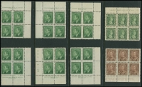 Lot 383 [5 of 5]:1928-52 selection on 18 Hagners incl Booklet panes 1928-29 1c & 2c KGV panes of 6, KGVI 1937-38 1c (2) & 2c (2) panes of 4 & 2 labels, 1c & 2c (2) panes of 6, 1942-48 1c pane of 4 & 2 labels, 1949-51 4c carmine-lake pane of 6, 4c vermilion pane of 6, Booklet strips 1942-48 War Effort booklet strips of 3, 1c, 3c & 4c (2 strips of each), 1949-51 1c, 3c & both 4c (strip of each), Coil stamps 1c to 4c in pairs, Plate blocks 1949-51 1c green 'No 7' all 4 plus 2 extra, 1953 Coronation (7 different positions), range later plate blocks, 1967-73 Defins, few phosphor tagged issues, few Official 'G' optd, etc. Cat in excess of £650. (100s)