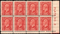 Lot 380:1932 Ottawa Conference 3c Plate No. 2 corner block of 8, one unit with Broken 'E' in 'POSTAGE'. Unitrade Cat C$100+. SG #315.