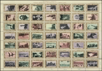 Lot 118 [2 of 2]:Australia: accumulation incl 1938 NSW Sesquicentenary complete sheet of 49 labels (few blemishes), 1959 Anpex sheetlet of 15 (3), 1967 Jindalee Jamboree sheet, numerous types of TB seals in complete sheets, few replica cards, Emergency Air Mail Service labels to & from London, 1972 ANPEX Souvenir M/Ss (5) in special folder, few Hutt River Province issues, etc. Generally very fine. (100s)