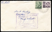 Lot 448 [1 of 2]:1952 (Sep 8) Cover to Tasmania carried on QANTAS 1st return Flight from South Africa to Australia with violet cachet, backstamped 'SYDNEY 139/NOON -9 SE52/NSW-AUST', AAMC #1308a.