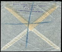 Lot 1006 [2 of 2]:Belgian Congo 1937 (Apr 22) registered commercial cover from Singer Sewing Machine Co, Elizabethville to London. Central crease does not affect adhesives.