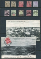 Lot 11 [2 of 2]:British Africa incl Bechuanaland 1888 6d lilac & black, 1891-1904 Opts (5 used), British East Africa pre-1920 PPC 'Grand North Eastern View of Mombasa Town, B.E.A.', Sth Africa 1914 PPC Durban to France, Zululand real photo 'The Old Fort, Eshowe, Zululand, unused. (17 items)