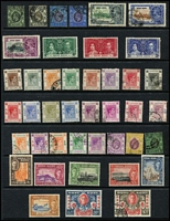 Lot 30 [3 of 5]:British Commonwealth 'C to M' Collection on 52 Hagners incl Cook Islands, Cyprus incl GB 1d red Pl 217 (fault), 1955-60 Picts to £1 (ex 250m), Dominica 1951 Picts (15), Falkland & Dependencies, Fiji, Gambia, Gibraltar, Gilbert & Ellice Islands, Gold Coast QE 5/-, 10/-, Hong Kong QV 1882-96 30c, few earlies KGVI to $10, 1941 British Occupation (6, MLH), UPU, Jamaica QE 1956-58 2/- to 10-, KUT KGVI £1 (fiscal cancel), QE 1954-59 to £1, few Tanganyika with fiscal cancels, Kuwait, Labuan, Malta. Mixed condition throughout. (100s)