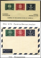 Lot 30 [2 of 5]:Flight Covers Collection incl Australia Australian Air League 1d 'Postage Paid' envelope, 1949 1st Flight Sydney to Vancouver (AAMC #1222), 1955 Sydney-Amsterdam Flight (AAMC #1351), Great Britain 1931 'City of Cairo' crash cover (b/s Sydney, 29 April), 1933 Imperial Airways 1st Flight London to Calcutta, 1934 1st Regular airmail to Australia (AAMC 469), 1938 'All Up' cover to SAust (AAMC #819), 1952 BOAC Jetliner 1st Flights to Johannesburg, Singapore, Colombo & 1953 to Tokyo, Jamaica c.1944 Censored cover to SAust with 'VIA AIR MAIL/Steamer-Plane Service, Kuwait 1950 commercial cover to S.Aust, Northern Rhodesia 1931 Broken Hill (Nth Rhodesia) to Salisbury 1st Flight, South Africa 1936 Empire Exhibition postcard to SAust with Exhibition cancel. Generally fine. (30 items)