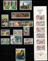 Lot 29 [3 of 4]:France & Colonies Collection in 2 albums 1930s-80s with 1944 Arc de Triomphe (20), 1944-45 Mariannes (20), 1945-46 various to 100f, numerous Arms series in blocks of 4, many commems incl few modern imperfs, 1994 Red Cross bklt, Franco-Swedish Relations bklt, Colonies incl Algeria, Fr.POs in Egypt-Port Said, Fr. Polynesia 1972 De Gaulle 100f (fine used Cat £90), 1984 Gauguin Air, Tunisia. STC £600+. (100s)