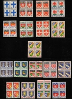 Lot 29 [1 of 4]:France & Colonies Collection in 2 albums 1930s-80s with 1944 Arc de Triomphe (20), 1944-45 Mariannes (20), 1945-46 various to 100f, numerous Arms series in blocks of 4, many commems incl few modern imperfs, 1994 Red Cross bklt, Franco-Swedish Relations bklt, Colonies incl Algeria, Fr.POs in Egypt-Port Said, Fr. Polynesia 1972 De Gaulle 100f (fine used Cat £90), 1984 Gauguin Air, Tunisia. STC £600+. (100s)