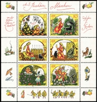 Lot 1389 [4 of 7]:1970-90 on Michel hingeless 12 ring pages incl 1973-75 Buildings (15), 1973 Songbirds (8), 1984 Fairy Tales sheetlet, many strips with labels, se-tenant blocks, sheetlets, M/Ss. Many sets, much thematic interest. Cat c.£800. 2.7kg. (100s)