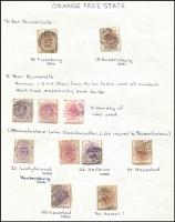 Lot 41 [2 of 3]:Orange Free State Postmark collection with 16 Bar Numerals Nos. 1-12, 14, 16-19, 11 Bar Numerals Nos. 1 (3), 21, 24 (2) 27, 29 & 30, 11 Bar Letter Cancels BE, C, G, O, R & Y. Several cancels are in red. (37)
