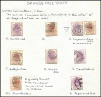 Lot 41 [3 of 3]:Orange Free State Postmark collection with 16 Bar Numerals Nos. 1-12, 14, 16-19, 11 Bar Numerals Nos. 1 (3), 21, 24 (2) 27, 29 & 30, 11 Bar Letter Cancels BE, C, G, O, R & Y. Several cancels are in red. (37)