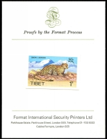 Lot 45 [1 of 3]:Proofs selection of Format International Security Printers with Tibet 1970s Animals (4, imperf, affixed to small cards) issued for Gov't in exile, scarce. Tuvalu 1984 'Leaders of the World' car series set of 8 values 1c to $1 imperf progressive Die Proofs affixed to folders with certificate stating '108 of 250' limited worldwide issue. (8 items)