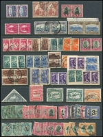 Lot 54 [2 of 3]:South Africa 1910-1987 Collection on 12 Hagners incl 1910 Parliament (8), 1913-24 Defins (many) to 10/- (3) incl 1d coils (3), 1½d tête-bêche pair, few Wmk inverted, 1927-30 10/- pair (slight perf separation), 1929 Air (2), range of Bantams, and later issues. Generally fine. (100s)
