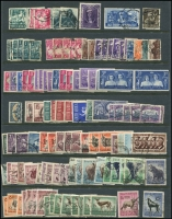 Lot 54 [3 of 3]:South Africa 1910-1987 Collection on 12 Hagners incl 1910 Parliament (8), 1913-24 Defins (many) to 10/- (3) incl 1d coils (3), 1½d tête-bêche pair, few Wmk inverted, 1927-30 10/- pair (slight perf separation), 1929 Air (2), range of Bantams, and later issues. Generally fine. (100s)