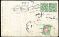 Lot 17 [3 of 4]:Taxed 1930s-90s PPCs with various markings from Bahrain, West Germany (4), Great Britain 1931 to NZ with 'T/10', & 'To Pay/1d/Double Deficiency' handstamps & NZ 1d Due, Spain, USA. Generally fine (11)