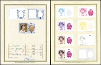 Lot 18 [2 of 3]:Tuvalu 1986 Queen's 60th Birthday progressive imperf colour trials of 10c (11), 90c (11, three Tuvalu, eight St.Vincent) & $1.50 (11) by Format International Security Printers Ltd and affixed to special signed cards with reference to colours used. (6)