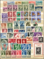 Lot 1077 [4 of 5]:World in 32 page stockbook incl Angola 1953 Animals (20), Belgium 1953 Tourist Propaganda (6), Falkland Islands 1938-50 Picts various (11) to 5/-, 1952 Picts (14), France 1953 National Relief (2 sets), Germany 1952 Relief Fund (4), GB 1948 Wedding £1, Ireland, Italy 1932 Picts (20, mint), 1949 UPU, 1953 Altantic Pact (2 sets), Jaipur 1948 Jubilee (2 sets), Monaco 1953 Helsinki Games (10), Montserrat 1951 Picts (13), Nigeria 1953-58 Picts (13), Norfolk Isl 1947 Picts (2 sets), Nyasaland 1953 Picts (15), Pitcairn Island 1951 4d & 8d pairs (MUH), St. Helena 1953 Picts (13), Somaliland 1942 Picts (12), Tonga 1953 Picts (14), Turks & Caicos 1950 Picts (13), Zanzibar 1926-27 Defins (11), also 1953 Coronation (50+). Numerous other issues with too many to mention. Several sets have the odd tone spot. Cat in excess of £2,000++. (100s)