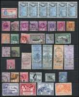 Lot 1078 [3 of 4]:World on leaves, Hagners & stockbook incl Canada, Ceylon, Falkland Is 1891-1902 2½d, Deps 1949 UPU (4), Fiji with straight-line 'DAVUTU' on KGV 2d, Germany few perfins, Hungary, New Zealand, Penrhyn, Poland, USA 1922-32 50c, $1, etc. Mixed condition. 2.3kg (100s)