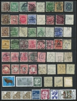 Lot 1078 [4 of 4]:World on leaves, Hagners & stockbook incl Canada, Ceylon, Falkland Is 1891-1902 2½d, Deps 1949 UPU (4), Fiji with straight-line 'DAVUTU' on KGV 2d, Germany few perfins, Hungary, New Zealand, Penrhyn, Poland, USA 1922-32 50c, $1, etc. Mixed condition. 2.3kg (100s)