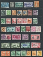 Lot 1078 [1 of 4]:World on leaves, Hagners & stockbook incl Canada, Ceylon, Falkland Is 1891-1902 2½d, Deps 1949 UPU (4), Fiji with straight-line 'DAVUTU' on KGV 2d, Germany few perfins, Hungary, New Zealand, Penrhyn, Poland, USA 1922-32 50c, $1, etc. Mixed condition. 2.3kg (100s)