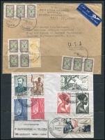 Lot 92 [2 of 4]:World Covers 1930s-90s Selection incl Belgium 1948 1st Flight Brussels to London, Brazil, Czechoslovakia (13). Ethiopia, France (8), French Equatorial Africa 1952 cover, East Germany (21, few slogan cancels), Hungary, Indo-China 1937 registered to Hanoi with Air France cachet, Iraq (2), Israel (6), Kuwait (2, both registered to GB), Libya 1977 registered to Australia with Vienna backstamp, Niger, Turkey 1969 cover with Official stamps to USA, Venezuala, some covers are from various YMCAs. Generally fine. (100+)