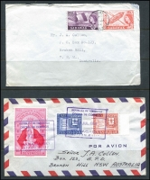 Lot 86 [4 of 4]:World Covers accumulation incl Australia few commem covers & FDCs, GB, Indonesia, New Zealand, Nigeria 1943 double Censored cover to Australia, Russia, Sabah 1965 Forces Air Mail to Australia, UN, with strength in USA incl 1856-89 covers (6), many later covers, etc. Generally fine. (120)