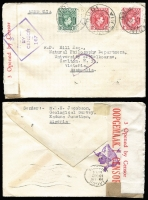 Lot 86 [1 of 4]:World Covers accumulation incl Australia few commem covers & FDCs, GB, Indonesia, New Zealand, Nigeria 1943 double Censored cover to Australia, Russia, Sabah 1965 Forces Air Mail to Australia, UN, with strength in USA incl 1856-89 covers (6), many later covers, etc. Generally fine. (120)