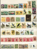 Lot 66 [5 of 5]:World in 2 Chinese Stockbooks & loose incl GB, Haiti 1964 Olympics, Honduras 1964 Olympics (9 & M/S), Hong Kong, Laos, New Zealand, Sweden, Thailand, plus a selection of bird & Olympic thematics. (100s)
