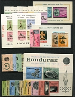 Lot 66 [1 of 5]:World in 2 Chinese Stockbooks & loose incl GB, Haiti 1964 Olympics, Honduras 1964 Olympics (9 & M/S), Hong Kong, Laos, New Zealand, Sweden, Thailand, plus a selection of bird & Olympic thematics. (100s)