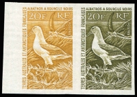 Lot 1407:1968 20f Albatross imperf se-tenant colour trial pair, one unit in ochre, the other in brownish-olive.