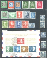 Lot 454:1949-59 Group incl MUH Allied Zone 1949 Goethe (3), German Stamp Centenary 10pf, Relief Fund 10pf, 20pf, 30pf,  No Gum issues incl Stamp Centenary (3), 1950 Bach pair & additional 10pf, Used inc 1949 Relief Opt, 1951 Röntgen, 1953 Otto, 1953 Liebig (5, incl a pair), 1959 Beethoven M/S attached to piece. Mixed condition. Cat £780+. (21 & M/S)