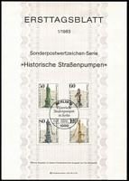 Lot 480 [1 of 2]:1959-83 Ersttagsblatt (First Day card) from West Germany 1959 No. 5, 1960 Nos. 24, 25 & 26, 1980 Nos. 1-26 (incl No. 11a and excluding No. 8), 1980 FIP-KONGRESS sheet of 10 MUH, 1983 Nos. 2-4, all with 'BONN' cds. West Berlin 1956 No. 16, 1958 No. 41, 1980 Nos. 1-11, 1983 No. 1-2, all with 'BERLIN' cds. Cat £88. (c.50 cards)