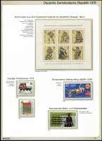 Lot 1389 [6 of 7]:1970-90 on Michel hingeless 12 ring pages incl 1973-75 Buildings (15), 1973 Songbirds (8), 1984 Fairy Tales sheetlet, many strips with labels, se-tenant blocks, sheetlets, M/Ss. Many sets, much thematic interest. Cat c.£800. 2.7kg. (100s)