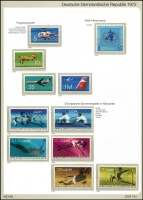 Lot 1389 [1 of 7]:1970-90 on Michel hingeless 12 ring pages incl 1973-75 Buildings (15), 1973 Songbirds (8), 1984 Fairy Tales sheetlet, many strips with labels, se-tenant blocks, sheetlets, M/Ss. Many sets, much thematic interest. Cat c.£800. 2.7kg. (100s)