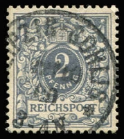 Lot 1413 [1 of 2]:1889-1900 2pf slate with REIGHSPOST variety, SG #45a, Cat £225.