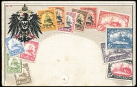 Lot 1423 [3 of 3]:1901 No Wmk Yachts 3pf to 5m (with additional 25pf, no gum), also unused Zieher style impressed stamps post card (blemishes), unused. Mi #11-23, Cat  €600. (15 items)