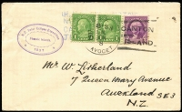 Lot 1433:1937 NZ Solar Eclipse Expedition cover with USA adhesives tied by 'USS AVOCET/CANTON ISLAND' cancel (JUN 8). Adhesives placed over 'HMS WELLINGTON/NZ SOLAR EXP/CANTON ISLAND/JUN 8' handstamp, with a fine strike of oval 'N.Z. Solar Eclipse Expedition/Phoenix Islands/1937' cachet at left.