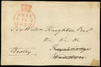 Lot 445 [1 of 2]:1829-80s Collection on 55+ Hagners incl 1829 Free front addressed to Sir William Knighton, Bart, Royal Lodge, Windsor [1776-1830 acted, as Private Secretary to King George IV], later QV issues incl 1887-1900 Jubilee, few Edwards, 1913-19 Seahorses 2/6d, 5/-, 1929 PUC ½d wmk sideways, 1934 2/6d, 10/- Seahorses, KGVI 1938-48 10/- dark blue (3, incl a pair), £1 pair, many QE issues, mostly used, selection of MUH Machins, Regionals. Generally fine. (100s)