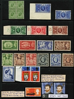 Lot 358 [1 of 2]:1911-73 Array incl 1911-12 ½d green, Wmk inverted block of 4, 1935 Jubilee set (½d, 1d & 2d with Control Nos), plus extra 2½d, 1939-48 Hi-Values set (lightly toned), 1948 Wedding £1 (MUH), 1951 Festivals (4, MLH), 1966 Technology 6d with 'slight downward misplacement of 'Mini', Christmas 3d pair, one unit Missing 'T' SG 713c, etc. Also small QV stationery cut-out selection (21) with postmarks. Generally fine. (46)