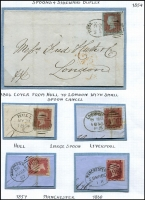 Lot 395 [3 of 5]:1795-1889 Collection incl 1795 Hereford to Llandovery with account of a fire in a dressmaker's shop, 1804 Mileage mark [196] from York to Doncaster, 1814 Loughborough [109] to Ashby de la Zouche, 1826 Newcastle-U-Te [277] to Carlisle, range of 'Spoons' & 'Sideways' duplex, 1842 cover 'IPSWICH/1D/PAID' in red, few 'FREE' Frank fronts, 1849 Customs document to Adelaide with 'SHIP LETTER/(crown)/LONDON', '(crown)/PAID' in red alongside 'ADELAIDE GPO' arrival cds, 1886 Hoster machine cancel on 1d stationery card to Germany. Mixed condition. (31 items)