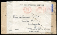 Lot 1401 [3 of 5]:1905-80s Range incl few WWII Envelope Saving labels, 1943 GPO 'Opened for Customs Examination' label on registered cover to Australia, 1948 PPC to AACS HQ, Kobe, Japan from 'Field Post Office 46', 1965 Churchill set on Forces Airmail cover with 'Field Post Office 128', 1957 & 1969 PPCs with Postage Dues affixed, also 1905 PPC from Victoria octagonal 'T/10c' handstamp, alongside '2D/I.S.' and framed 'Liable to Letter Rate/I.S.' handstamp. (11)