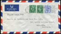 Lot 1401 [5 of 9]:1905-80s Range incl few WWII Envelope Saving labels, 1943 GPO 'Opened for Customs Examination' label on registered cover to Australia, 1948 PPC to AACS HQ, Kobe, Japan from 'Field Post Office 46', 1965 Churchill set on Forces Airmail cover with 'Field Post Office 128', 1957 & 1969 PPCs with Postage Dues affixed, also 1905 PPC from Victoria octagonal 'T/10c' handstamp, alongside '2D/I.S.' and framed 'Liable to Letter Rate/I.S.' handstamp. (11)